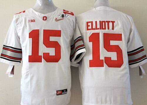 Ohio State Buckeyes #15 Ezekiel Elliott 2015 Playoff Rose Bowl Special Event Diamond Quest White 2015 BCS Patch Jersey