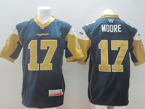 CFL Winnipeg Blue Bombers #17 Nick Moore Navy Blue Jersey