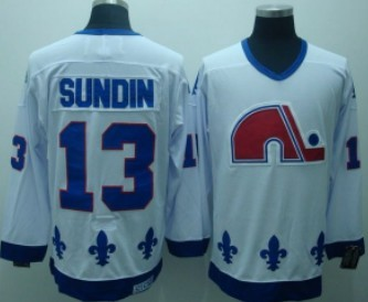 Quebec Nordiques #13 Mats Sundin White Throwback CCM Jersey