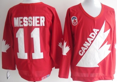 Team Canada #11 Mark Messier 1991 Olympic Red Throwback CCM Jersey