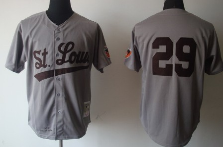 St. Louis Browns #29 Satchel Paige 1953 Gray Wool Throwback Jersey
