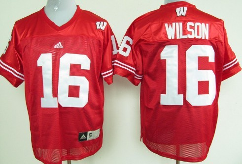 Wisconsin Badgers #16 Russell Wilson Red Jersey