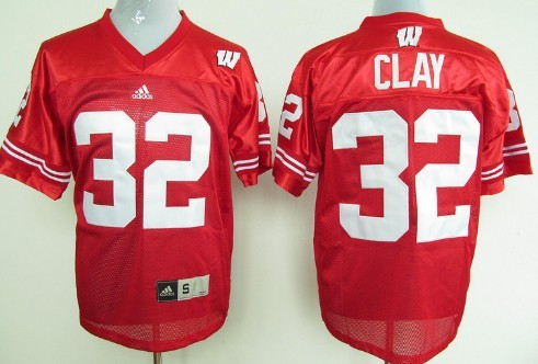 Wisconsin Badgers #32 John Clay Red Jersey