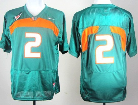 Miami Hurricanes #2 With No Name Green Jersey