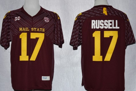 Mississippi State Bulldogs #17 Tyler Russell Red Jersey