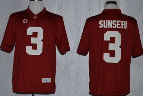 Alabama Crimson Tide #3 Vinnie Sunseri 2014 Red Jersey