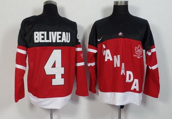 2014-15 Men's Team Canada #4 Jean Beliveau Retired Player Red 100TH Anniversary Jersey