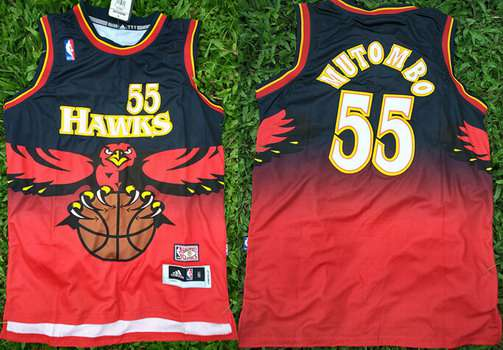 Men's Atlanta Hawks #55 Dikembe Mutombo 1990 Red Hardwood Classics Soul Swingman Throwback Jersey