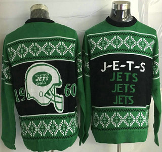 Men's New York Jets Navy Blue With Green NFL Sweater