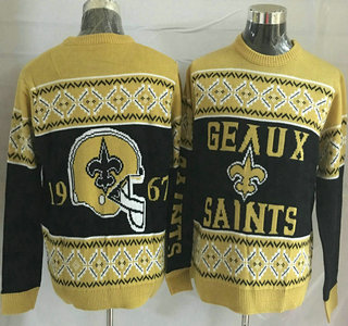 Men's New Orleans Saints Black With Yellow NFL Sweater