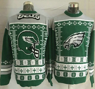 Men's Philadelphia Eagles Green With Grey NFL Sweater