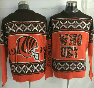Men's Cincinnati Bengals Orange With Black NFL Sweater