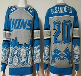 Men's Detroit Lions #20 Barry Sanders Gray With Blue NFL Sweater