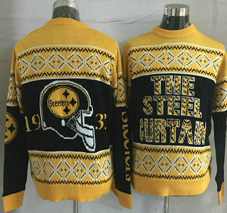 Men's Pittsburgh Steelers Black With Yellow NFL Sweater