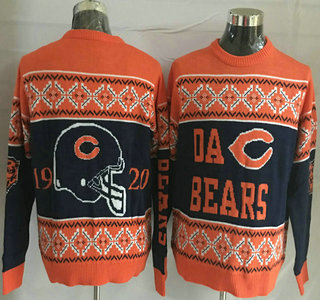 Men's Chicago Bears Navy Blue With Orange NFL Sweater