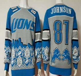 Men's Detroit Lions #81 Calvin Johnson Gray With Blue NFL Sweater
