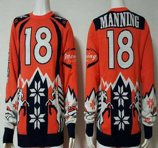 Men's Denver Broncos #18 Peyton Manning Orange With White NFL Sweater