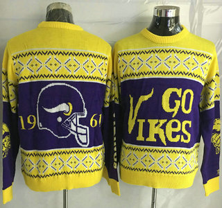 Men's Minnesota Vikings Purple With Yellow NFL Sweater
