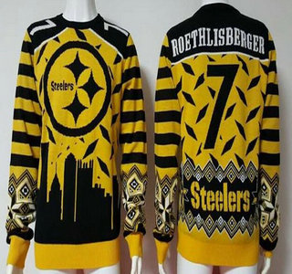 Men's Pittsburgh Steelers #7 Ben Roethlisberger Yellow With Black NFL Sweater