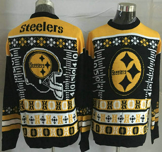 Men's Pittsburgh Steelers Black With Yellow NFL Sweater 01