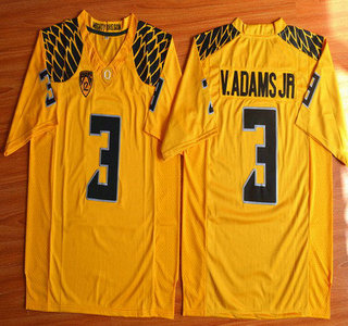 Oregon Duck #3 Vernon Adams Jr Yellow College Football Nike Limited Jersey