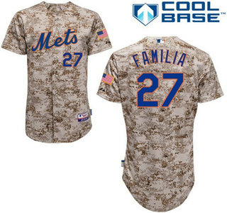 New York Mets #27 Jeurys Familia Camo Authentic Cool Base Jersey with 2015 World Series Participant Patch