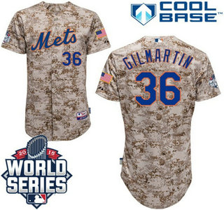 New York Mets #36 Sean Gilmartin Camo Authentic Cool Base Jersey with 2015 World Series Participant Patch