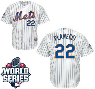 New York Mets #22 Kevin Plawecki Home White Authentic Cool Base Jersey with 2015 World Series Participant Patch