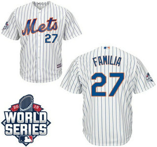 New York Mets #27 Jeurys Familia Home White Pinstripe Authentic Cool Base Jersey with 2015 World Series Participant Patch