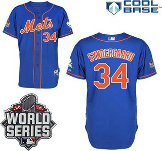 New York Mets Authentic #34 Noah Syndergaard Alternate Home Blue Orange Jersey with 2015 World Series Patch