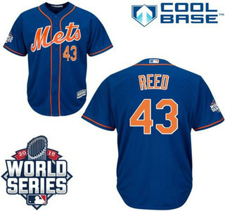 New York Mets #43 Addison Reed Royal Blue Orange Cool Base Jersey with 2015 World Series Participant Patch
