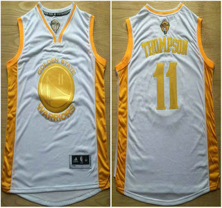 Golden State Warriors #11 Klay Thompson 2015 NBA Final Game Gold Name White Jersey
