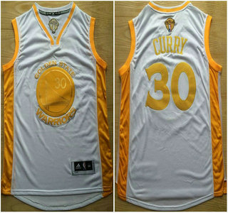Golden State Warriors #30 Stephen Curry 2015 NBA Final Game Gold Name White Jersey