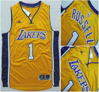 Los Angeles Lakers #1 D'Angelo Russell Revolution 30 Swingman 2015 Draft New Yellow Jersey
