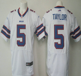 Men's Buffalo Bills #5 Tyrod Taylor White Road NFL Nike Elite Jersey
