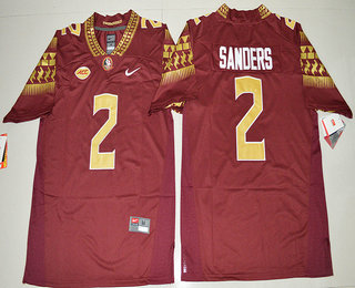 Men's Florida State Seminoles #2 Deion Sanders Red Stitched College Football 2016 Nike NCAA Jersey