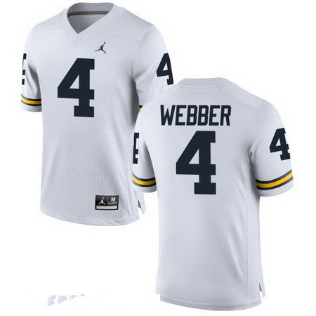 Men's Michigan Wolverines #4 Chirs Webber Retired White Stitched College Football Brand Jordan NCAA Jersey