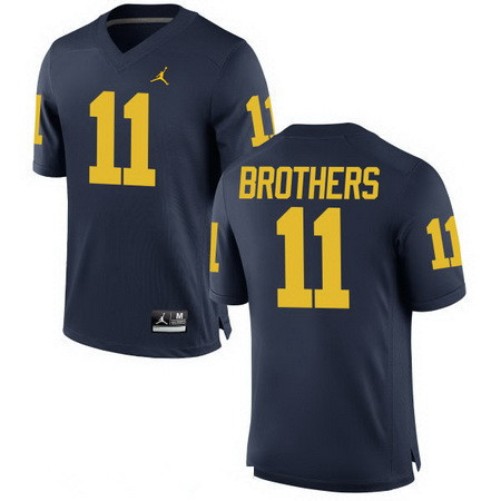 Men's Michigan Wolverines #11 Wistert Brothers Navy Blue Stitched College Football Brand Jordan NCAA Jersey