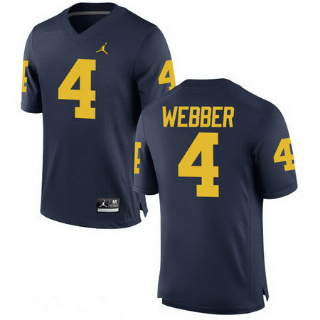 Men's Michigan Wolverines #4 Chirs Webber Retired Navy Blue Stitched College Football Brand Jordan NCAA Jersey