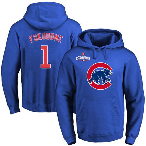 Cubs #1 Kosuke Fukudome Blue 2016 World Series Champions Primary Logo Pullover MLB Hoodie