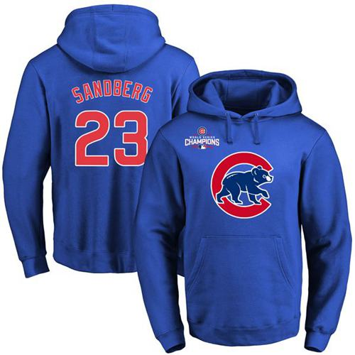 Cubs #23 Ryne Sandberg Blue 2016 World Series Champions Primary Logo Pullover MLB Hoodie