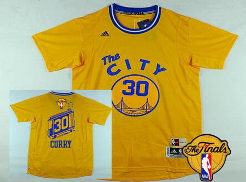 Men's Golden State Warriors #30 Stephen Curry 2015-16 Retro Yellow Short-Sleeve 2016 The NBA Finals Patch Jersey