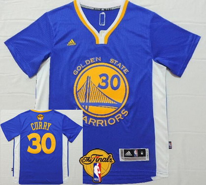 Men's Golden State Warriors #30 Stephen Curry Blue Short-Sleeved White 2016 The NBA Finals Patch Jersey