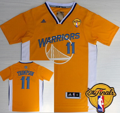 Men's Golden State Warriors #11 Klay Thompson Yellow Short-Sleeved 2016 The NBA Finals Patch Jersey