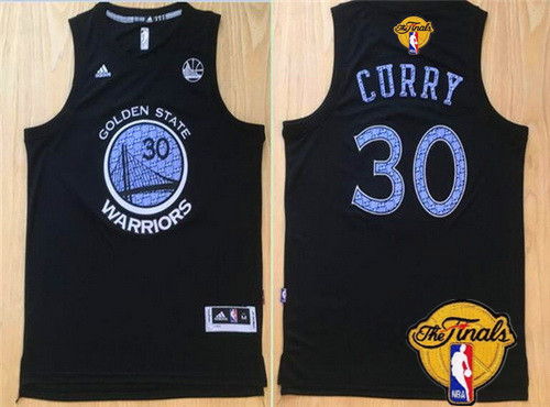 Men's Golden State Warriors #30 Stephen Curry Black With Purple Diamond 2016 The NBA Finals Patch Jersey