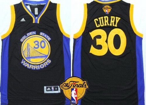 Men's Golden State Warriors #30 Stephen Curry Black With Blue Edge 2016 The NBA Finals Patch Jersey