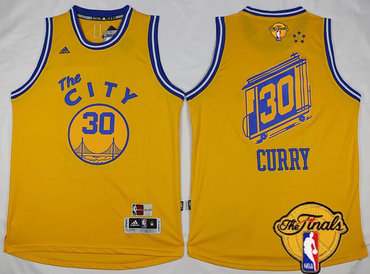 Men's Golden State Warriors #30 Stephen Curry 2015-16 Retro Yellow 2016 The NBA Finals Patch Jersey