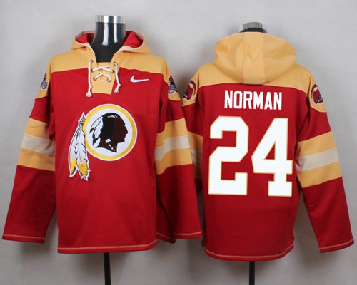 Nike Redskins #24 Josh Norman Burgundy Red Player Pullover NFL Hoodie