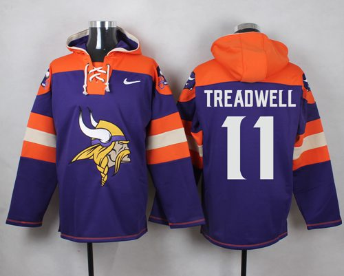 Nike Vikings #11 Laquon Treadwell Purple Player Pullover NFL Hoodie