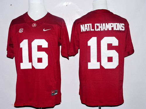Men's Alabama Crimson Tide 2016 Natl Champions Red Stitched NCAA Nike Limited College Football Jersey